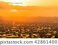 """""""富山县""""富山·砺波平原的壮丽景色,散落的村庄的夜景 42861400"""