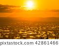 """""""富山县""""富山·砺波平原的壮丽景色,散落的村庄的夜景 42861466"""