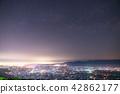 """""""จังหวัดโทยามะ"""" ทิวทัศน์ยามค่ำคืนของที่ราบโทนามิ·ท้องฟ้าเต็มไปด้วยดวงดาว 42862177"""