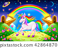 Rainbow unicorn in a fantasy landscape 42864870