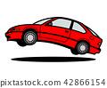 Nostale國內緊湊小轎車跳紅色汽車例證 42866154
