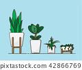Vector set green plant in white pot , Illustration 42866769