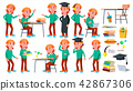 Boy Schoolboy Kid Poses Set Vector. High School Child. Children Study. Smile, Activity, Beautiful 42867306