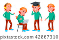Boy Schoolboy Kid Poses Set Vector. High School Child. Schoolchild. Funny, Friendship, Happiness 42867310