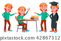 Boy Schoolboy Kid Poses Set Vector. High School Child. Classmate. Life, Emotional, Pose. For Web 42867312