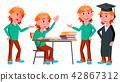 Boy Schoolboy Kid Poses Set Vector. High School Child. Classmate. Life, Emotional, Pose. For Web 42867312