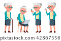 Old Woman Poses Set Vector. Elderly People. Senior Person. Aged. Caucasian Retiree. Smile. Web 42867356