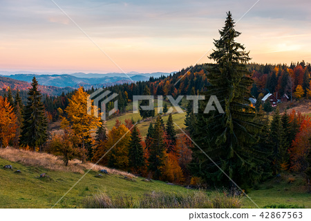reddish dawn in mountains 42867563