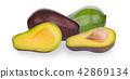 Fresh avocado fruits isolated on white background 42869134