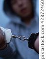 逮捕手銬(犯罪非法犯罪嫌疑犯案件犯罪可疑入侵者小偷面無暴徒) 42872460