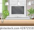 Living room with sofa tv and wooden bar table 42872558