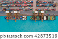 Aerial view container ship for transportation. 42873519