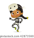 African-American girl wearing skeletom costume and skull mask dancing. Girl kid in Halloween costume 42873560