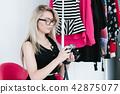 fashion stylist lookbook woman camera showroom 42875077