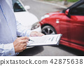 Traffic Accident and insurance concept, Insurance agent working 42875638