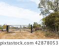 Closed old wooden gate 42878053
