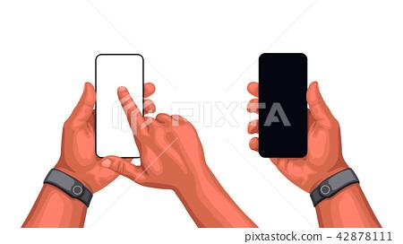 hands with smartphone set 42878111