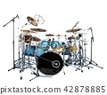 full set of acoustic drum instrument  42878885