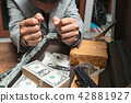 Police arrest drug trafficker with handcuffs. Law and police con 42881927
