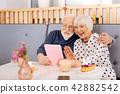 Joyful senior couple making online call 42882542