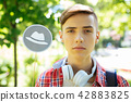 Thoughtful student with sober mind thinking about his future 42883825