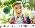 Progressive student thinking positively with thinking hats 42883828
