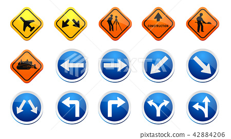 road and traffic signs collection 42884206