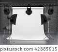 Vector empty photo studio with lighting equipment 42885915