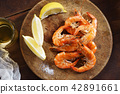 grilled  prawn with fresh lemon 42891661