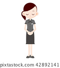 Overhead blouse uniform woman lowered head 42892141