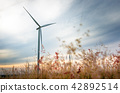 beautiful landscape image with Windturbine farm 42892514