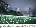 Light Rose Garden In Hong Kong City at night 42893250