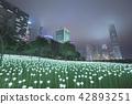 Light Rose Garden In Hong Kong City at night 42893251