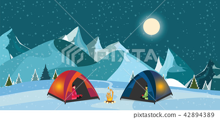 Campfire and tourist tent on snowy meadow. 42894389