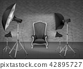 Vector photo studio with armchair and softboxes 42895727