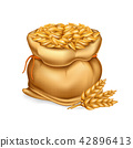realistic illustration of a bag with wheat, barley and sprigs of ears. 42896413