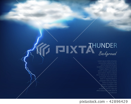 Banner with clouds and charge of lightning 42896429