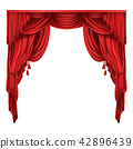 Theater stage red curtains realistic  42896439