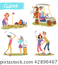 Golfers funny cartoon characters set 42896467