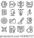 Thin line creative process icons set 42896737