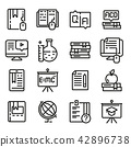Education icon set, outline style 42896738