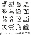 Vector line adventure icon set. 42896739