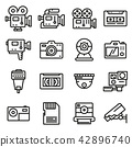 Vector line video and camera icons set. 42896740