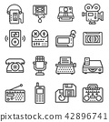 Set of Vector Retro Technology Outline Icons 42896741