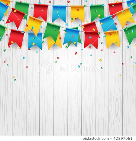 Party celebration flag on white wood background 42897061