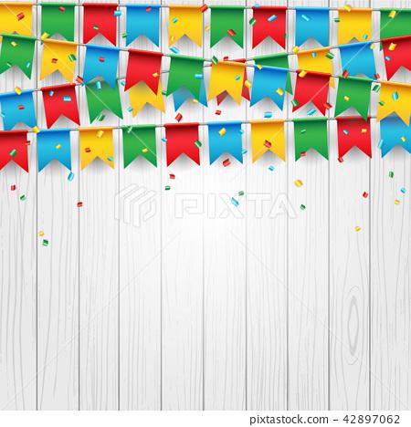 Party celebration flag on white wood background 42897062