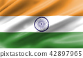 Waving flag of India is made of silk material. 42897965