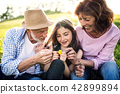 Senior couple with granddaughter outside in spring nature, relaxing on the grass. 42899894