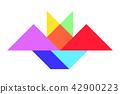 Color tangram puzzle in bat shape 42900223
