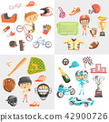 Sport for kids including baseball, american football, bmx cycling, car racing, boys in sports 42900726